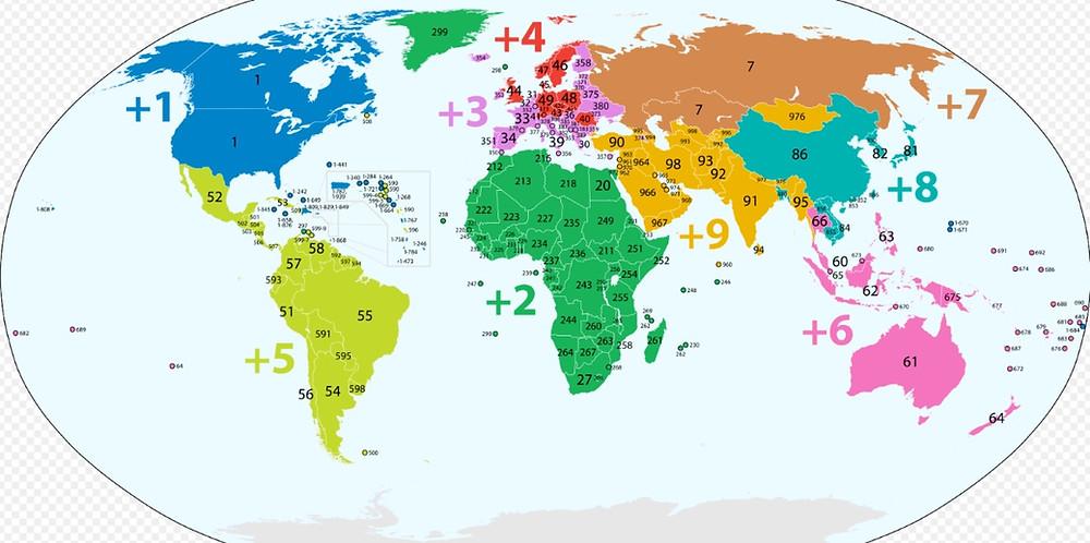 indicatifs téléphoniques par pays Monde