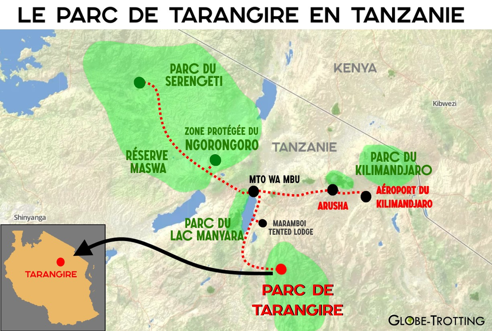 Tarangire parc Carte Tanzanie