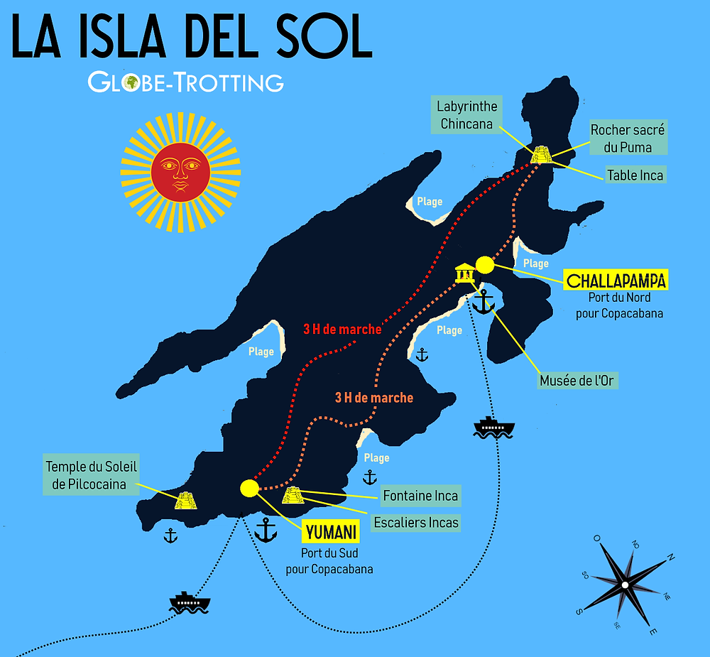 Isla del Sol map carte plan