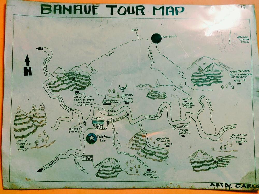 carte des rizières de batad luzon philippines