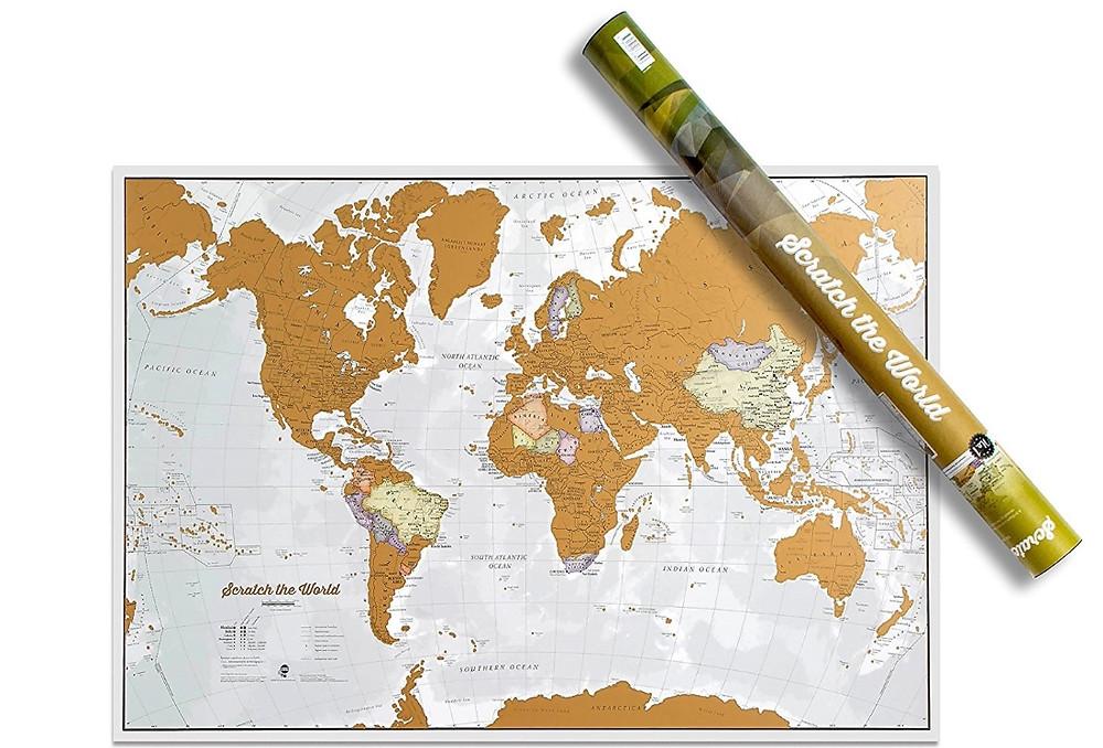 carte du monde à gratter de luxe dorée