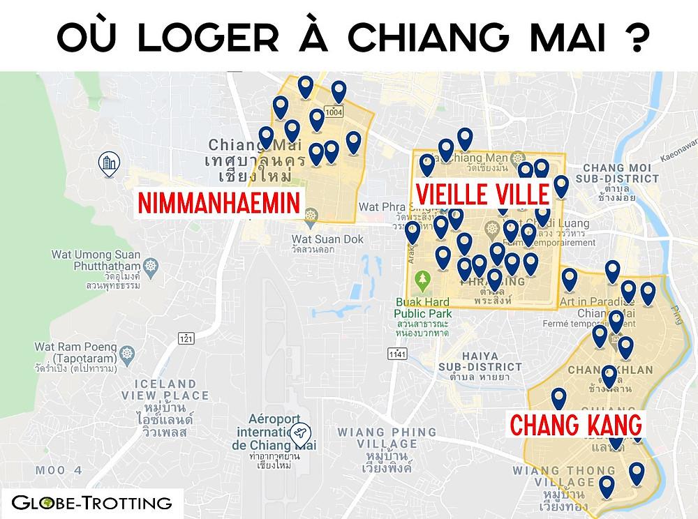 Carte Où loger à Chiang Mai