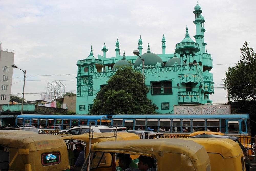 bâtiments bleus Calcutta Inde