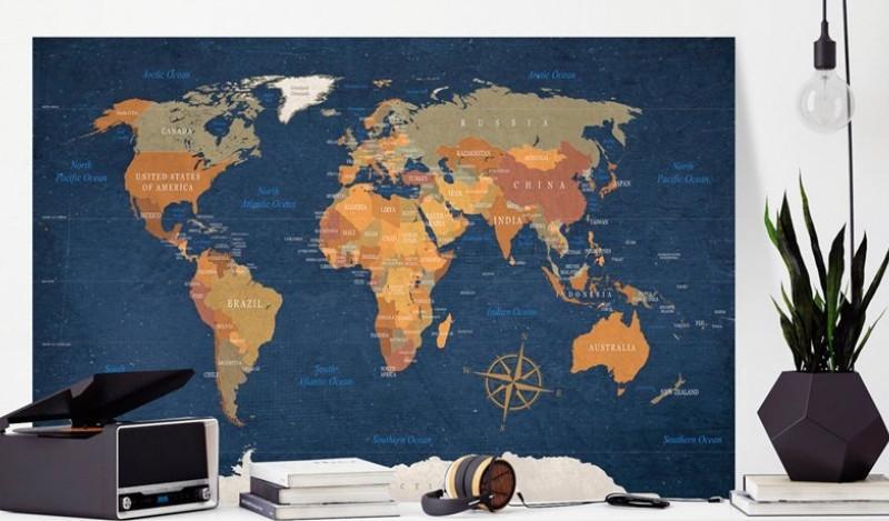 Carte du Monde liège couleurs fond bleu