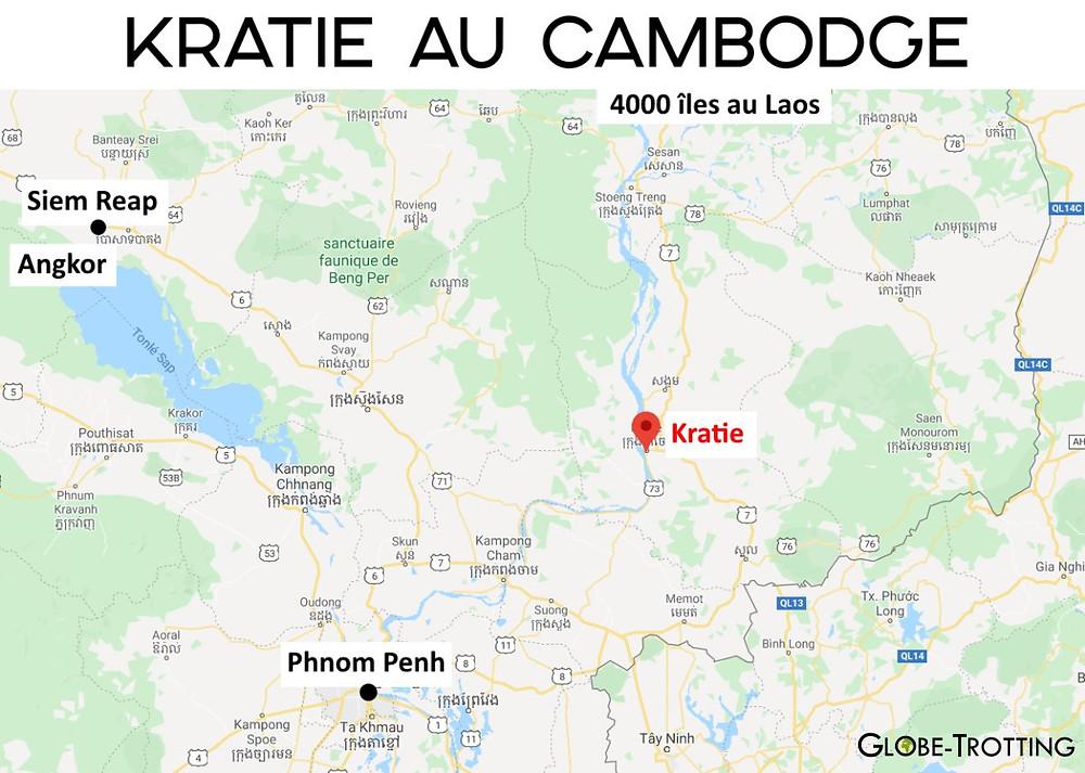 carte Kratie Cambodge