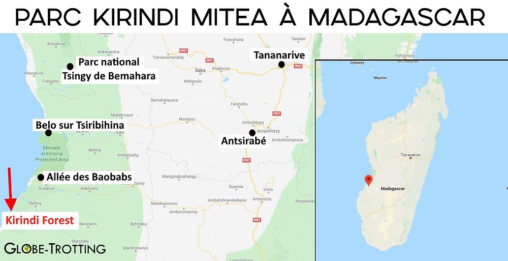 Carte Kirindy Madagscar