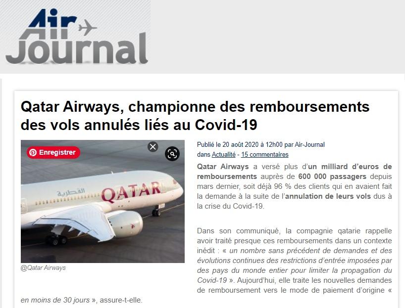 Qatar airways remboursements covid 19
