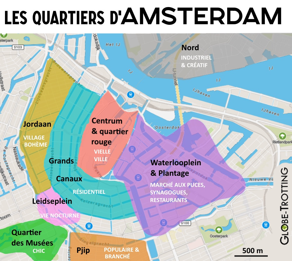 plan carte quartiers d'Amsterdam