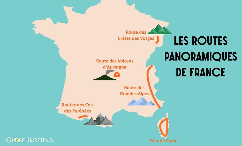 carte routes panoramiques de France