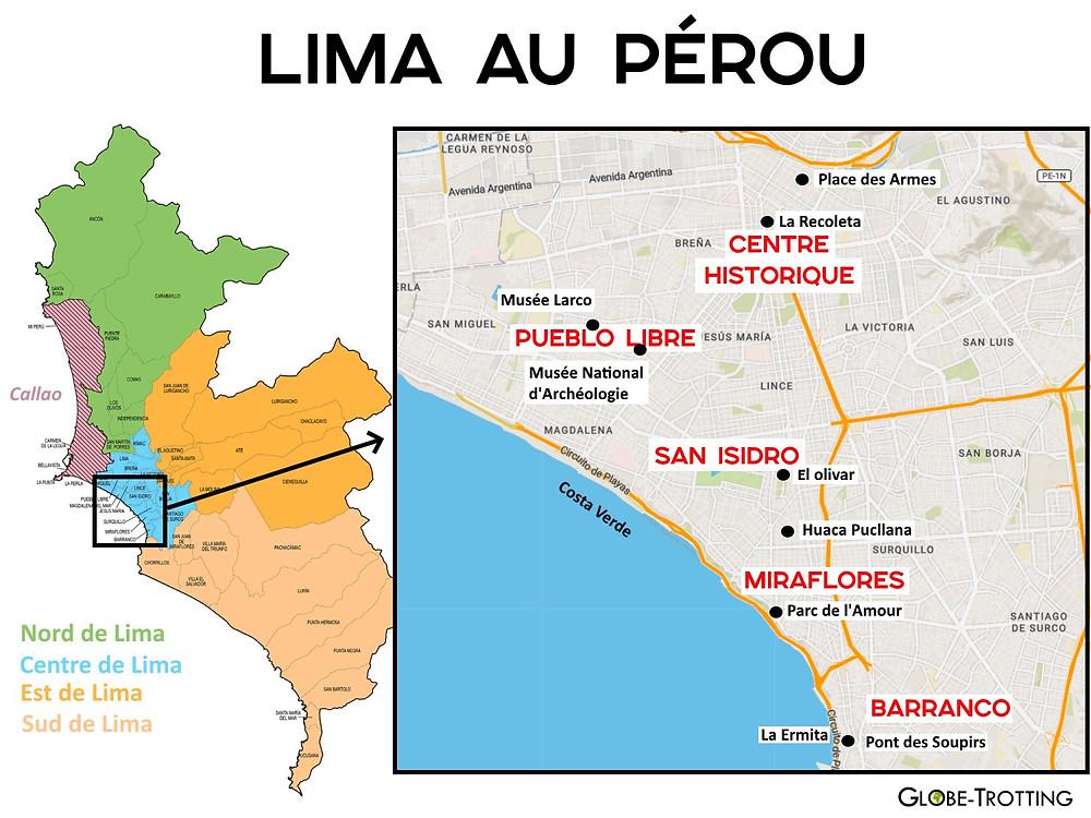 Carte plan Lima Pérou