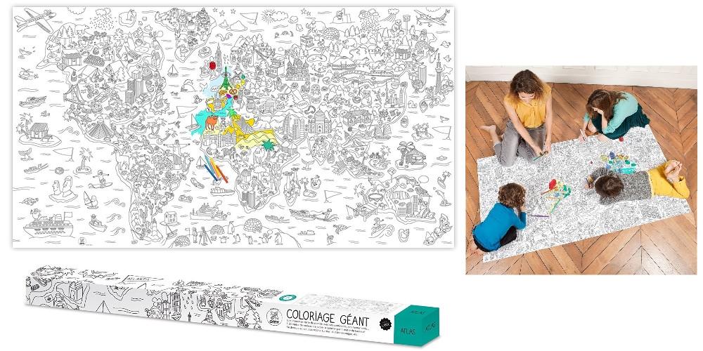 poster du monde géant à colorier