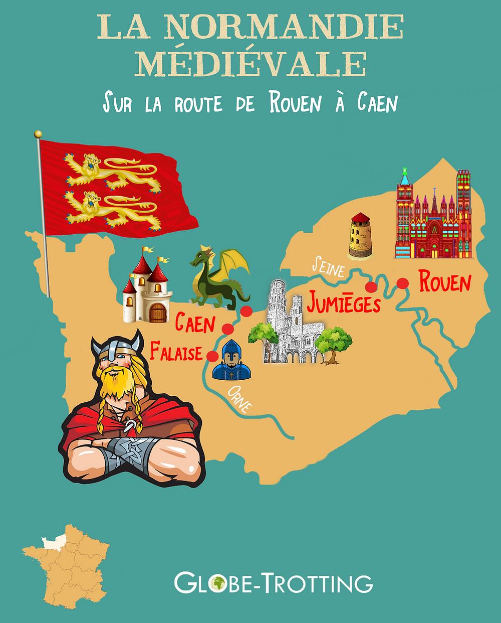Carte touristique Normandie Médiévale