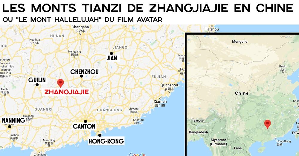 Carte des monts tianzi zhangjiaje
