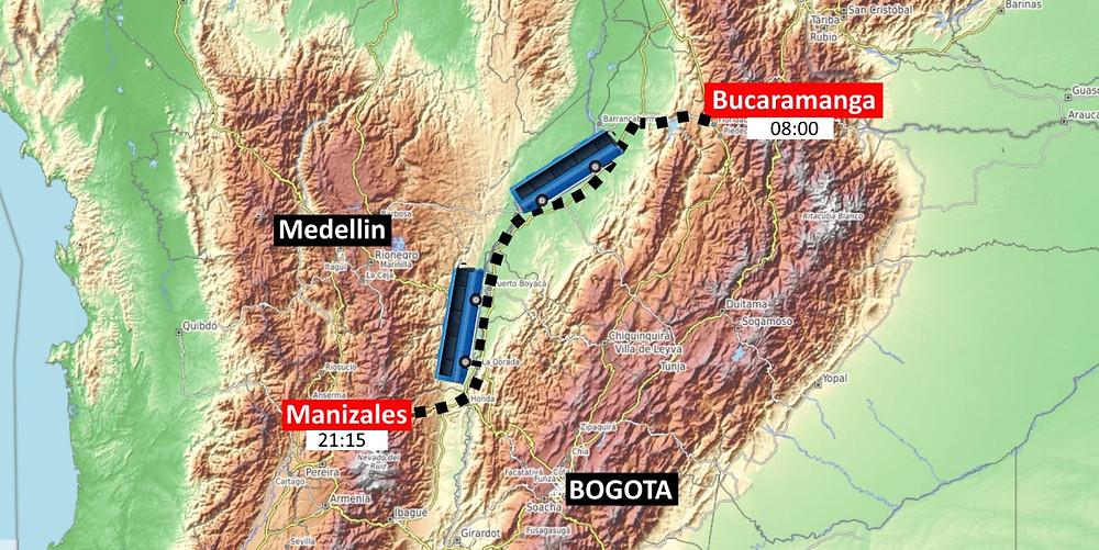 Bus de nuit Colombie trajet Manizales à Bucaramanga