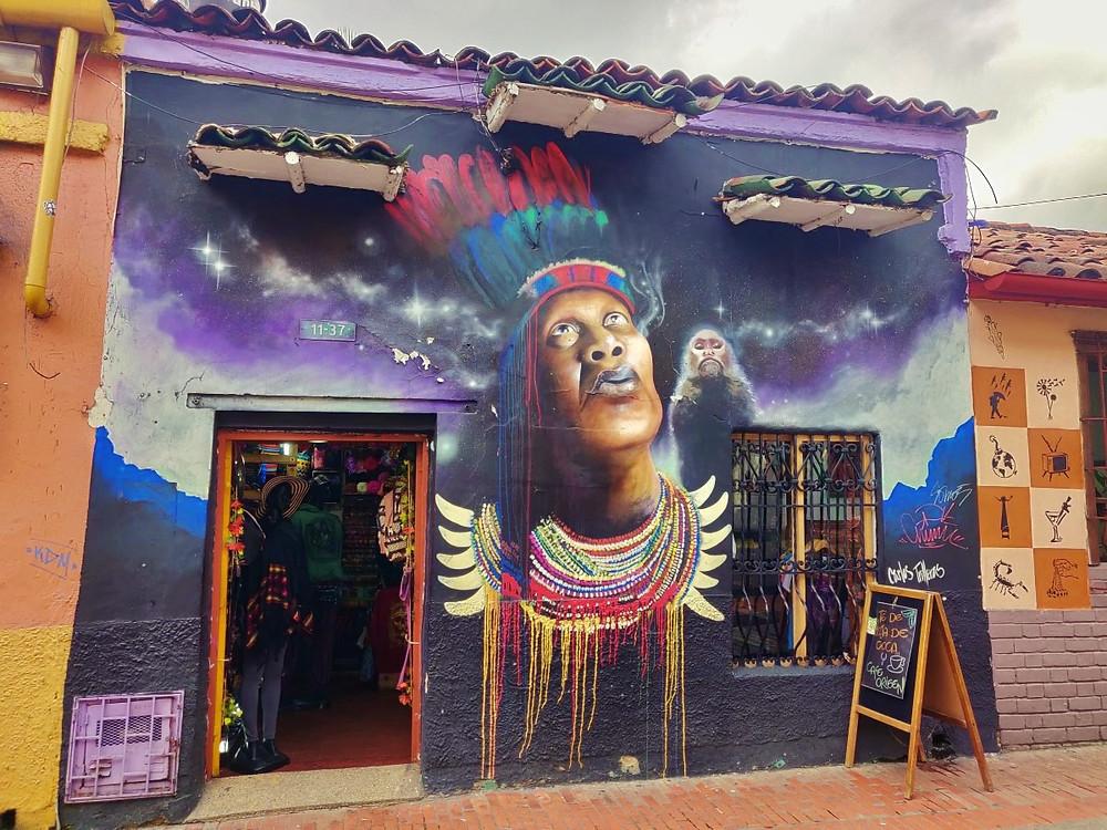 Street art indien La Candelaria Bogota