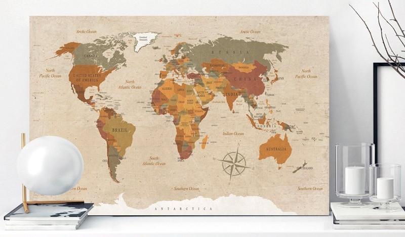 Carte du Monde liège couleurs écrue