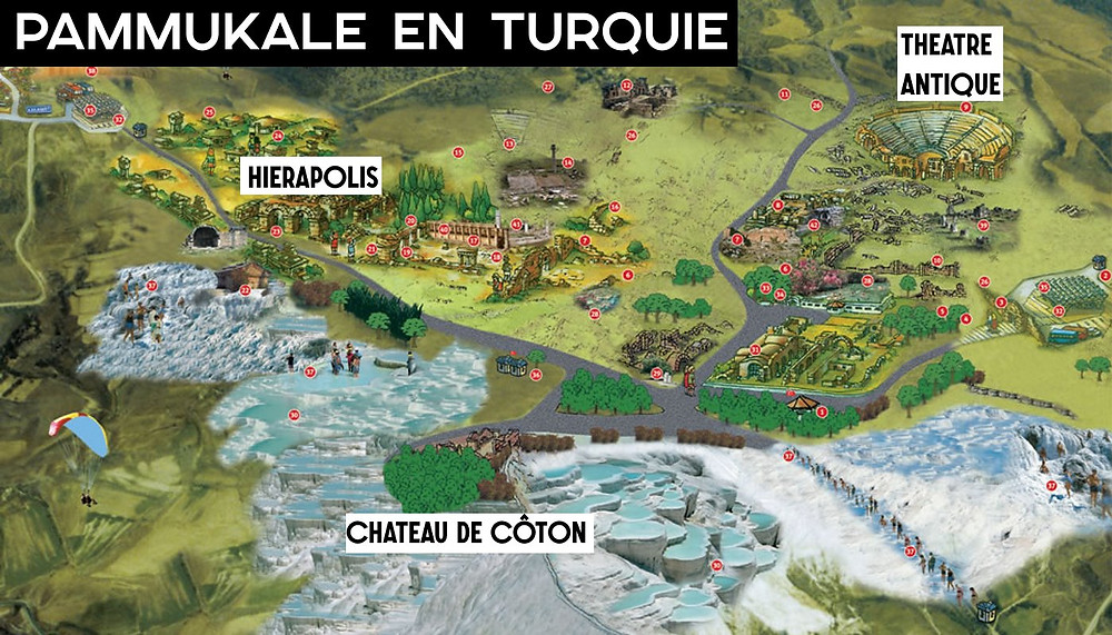 Pamukkale Hierapolis carte plan chateau de coton