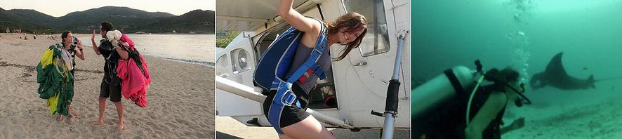 voyage, plongée et parachutisme