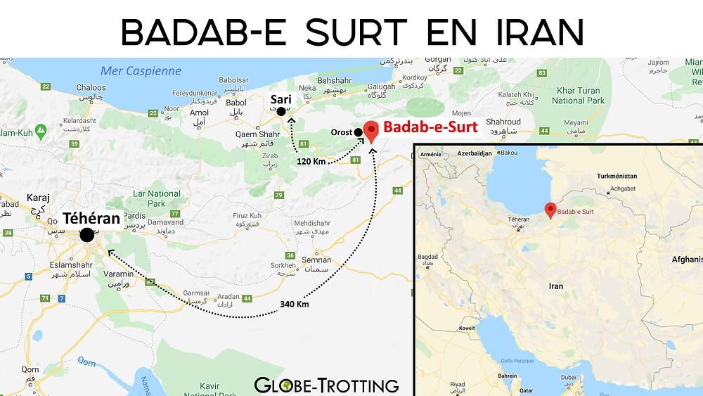 Carte Badab-e Surt en Iran