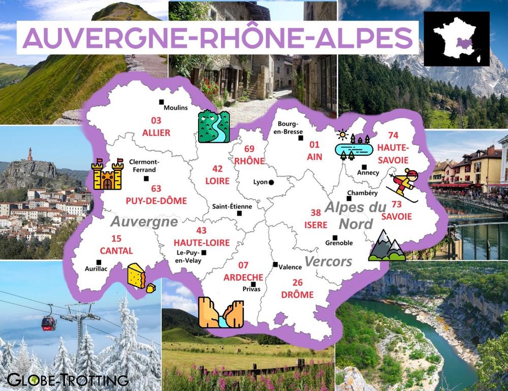 Ou partir France région auvergne rhone alpes