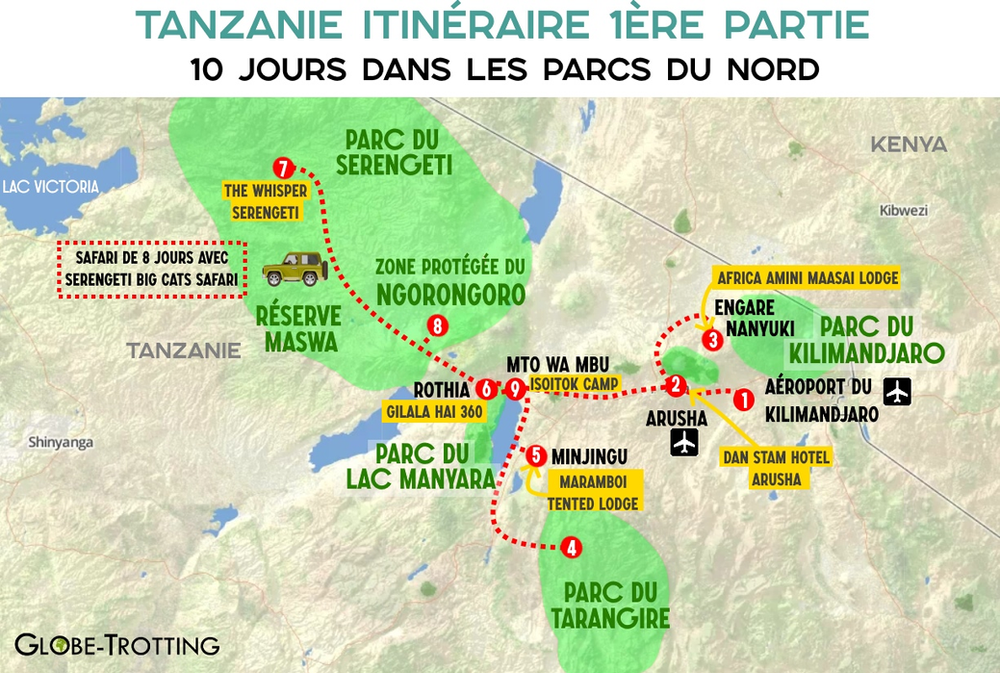 Carte itinéraire safari 8 jours tanzanie