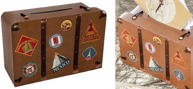 tirelire forme valise en carton