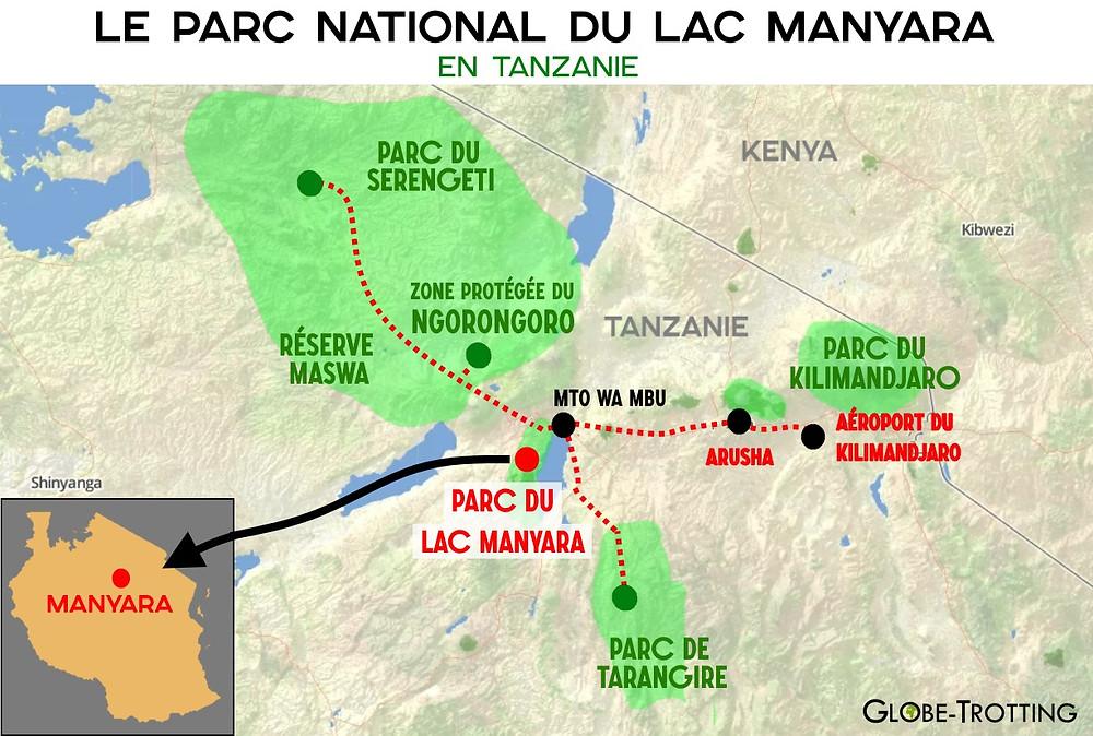Carte Parc Manyara Tanzanie