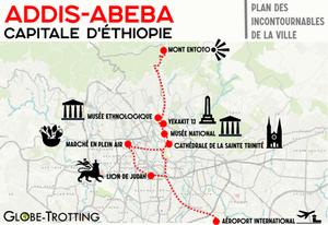 Addis Abeba carte plan de la ville