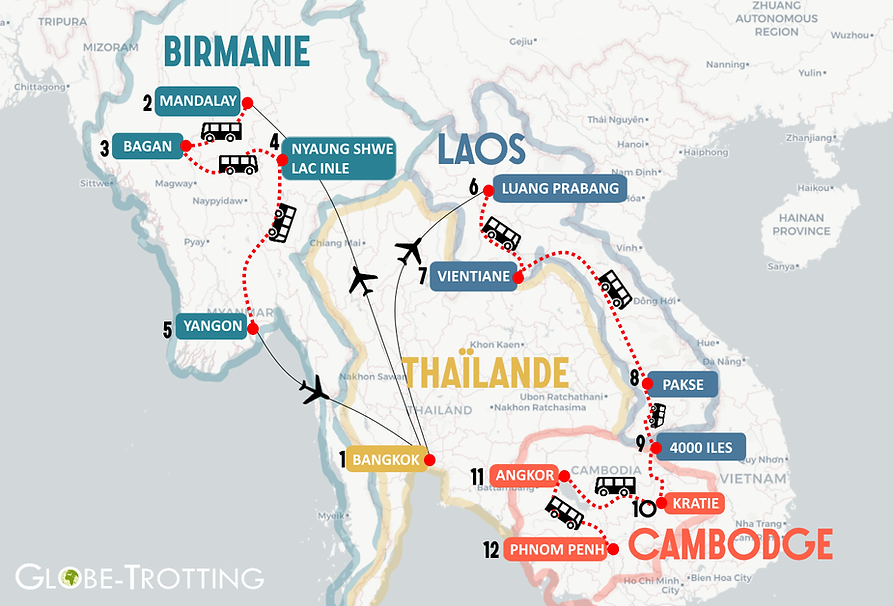 Carte Itinéraire birmanie, laos, cambodge