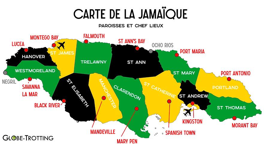 Carte des paroisses de Jamaique
