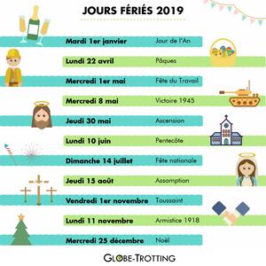 Jours fériés 2019