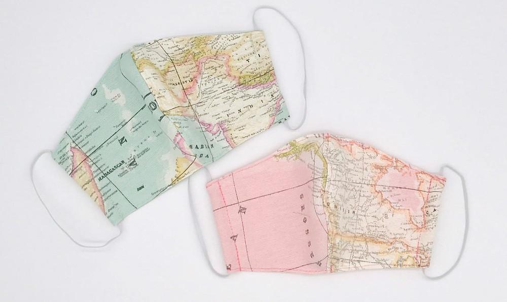 masque tissu carte du monde