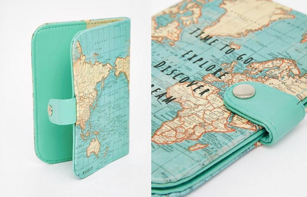 pochette passeport mappemonde