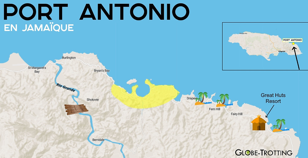Carte Plan touristique Port Antonio Jamaïque