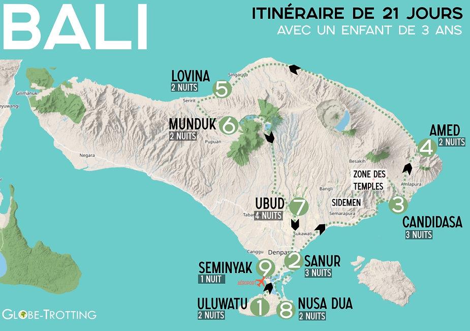 Carte itinéraire voyage Bali avec enfant