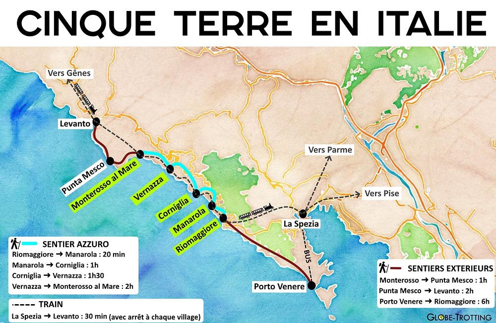Carte 5 terres italie rando train