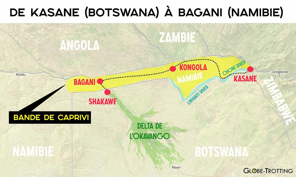 Caprivi Kongola Bagani Shakawe map carte