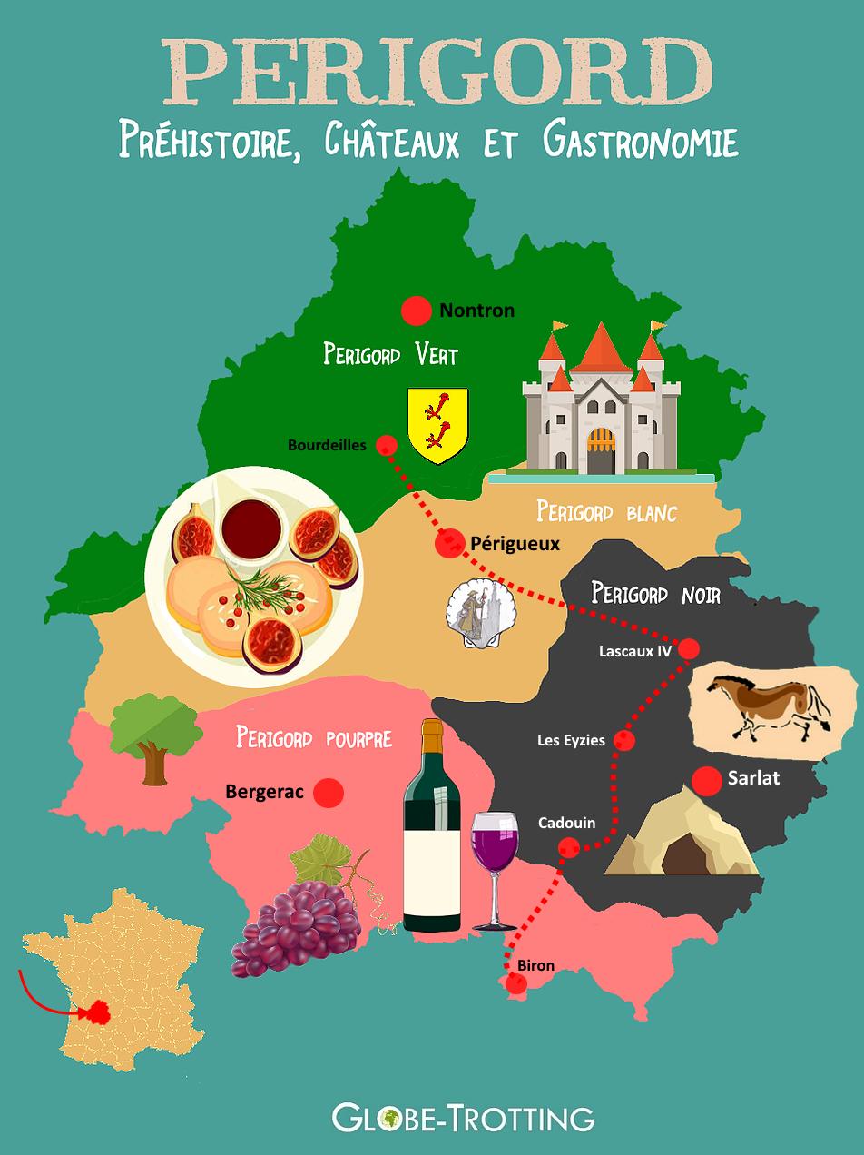 Périgord Dordogne Carte touristique
