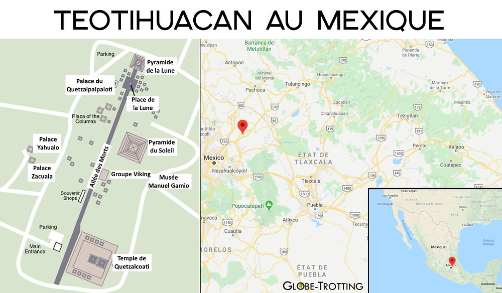 Plan carte Teotihuacan au Mexique