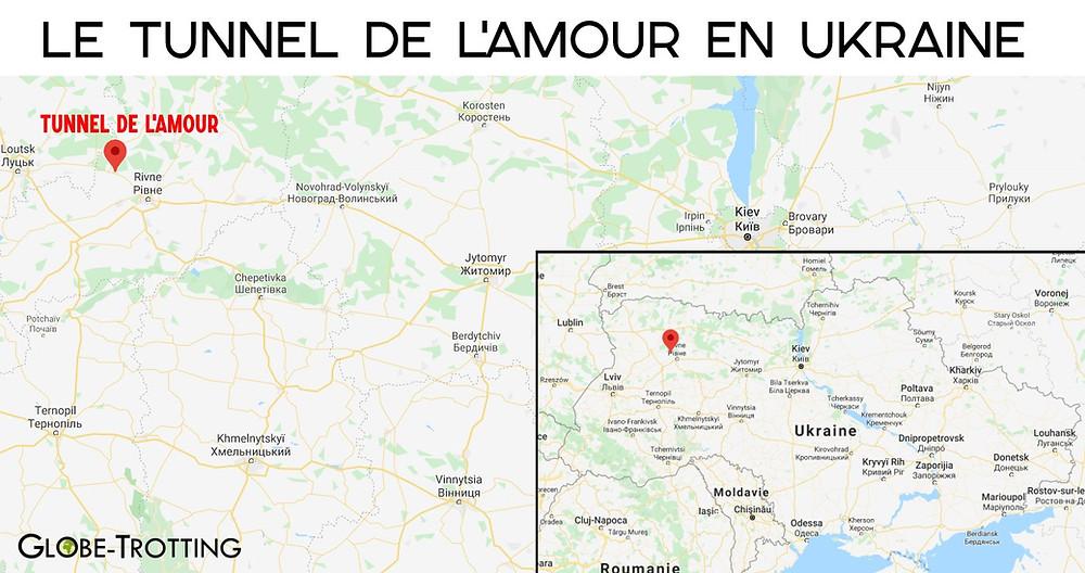 Tunnel de l'Amour en Ukraine Carte