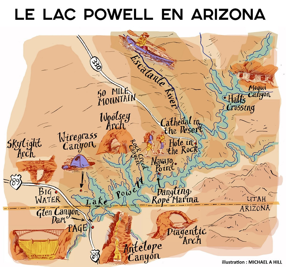 Carte Lac Powelle Antelope