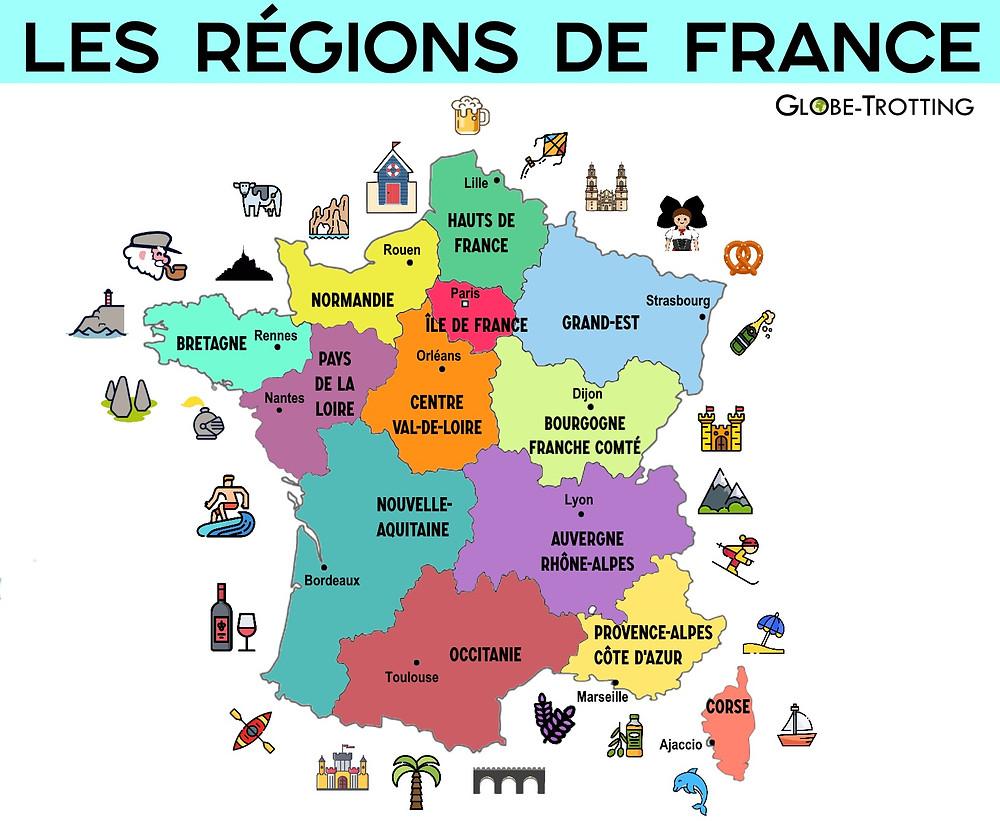 Régions de France tourisme Carte