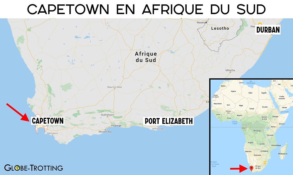 Carte Cape Town en Afrique du Sud