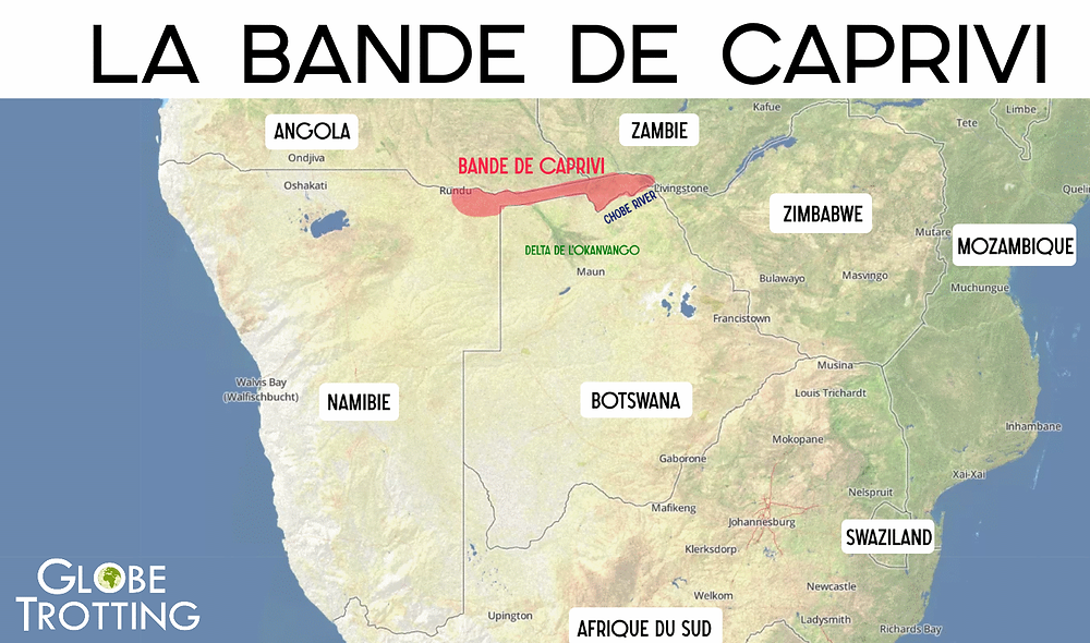 Bande de Caprivi carte map