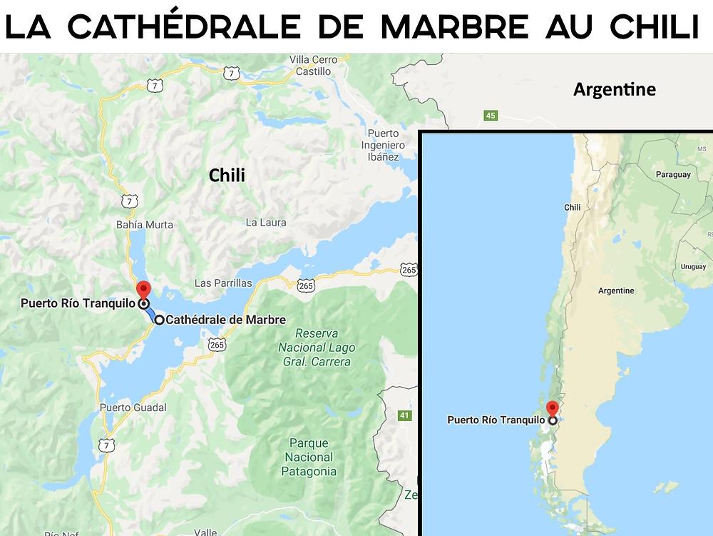 Carte Cathédrale de marbre Río Tranquilo Chili
