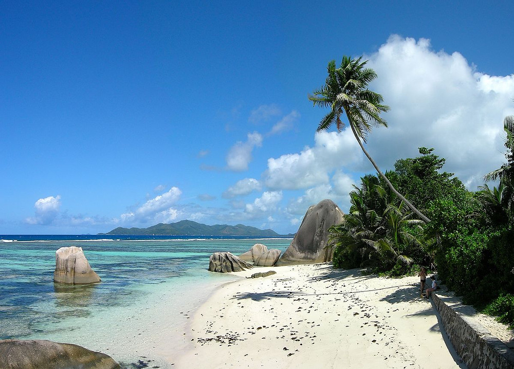 Plage sable blanc la digue seychelles Anse Source d'Argent