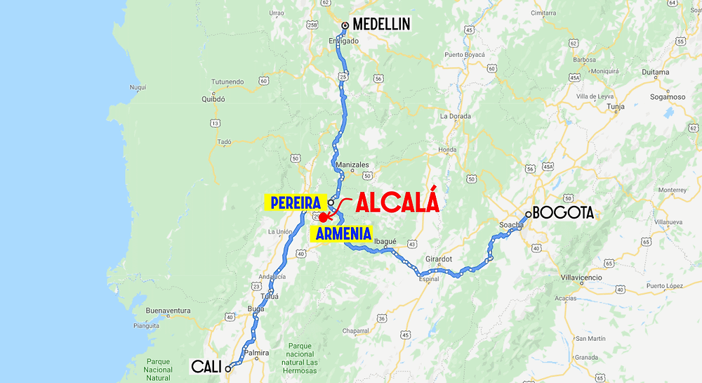 Alcala Colombie route