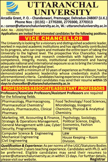 Uttaranchal University Microbiology Facu