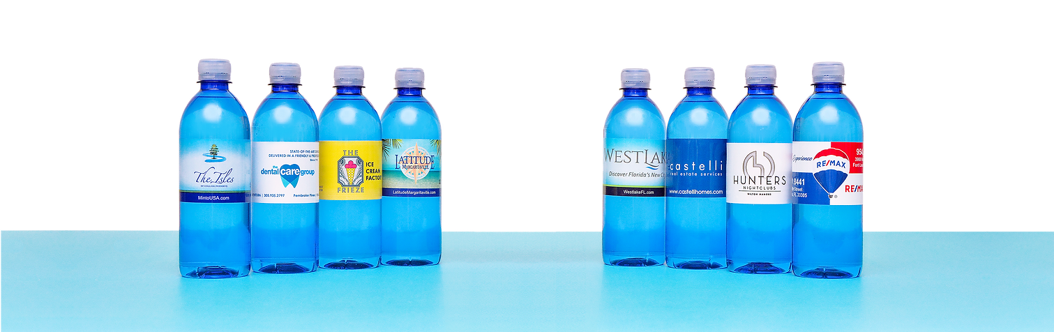 Custom label bottled water - Liquid Advertising South Florida