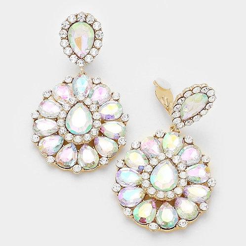 Rainbow Crystal Rhinestone Tear Drop Earrings
